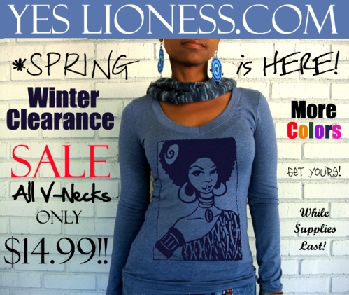 Winter Clearance Sale on All V-Necks at Yes Lioness .Com!